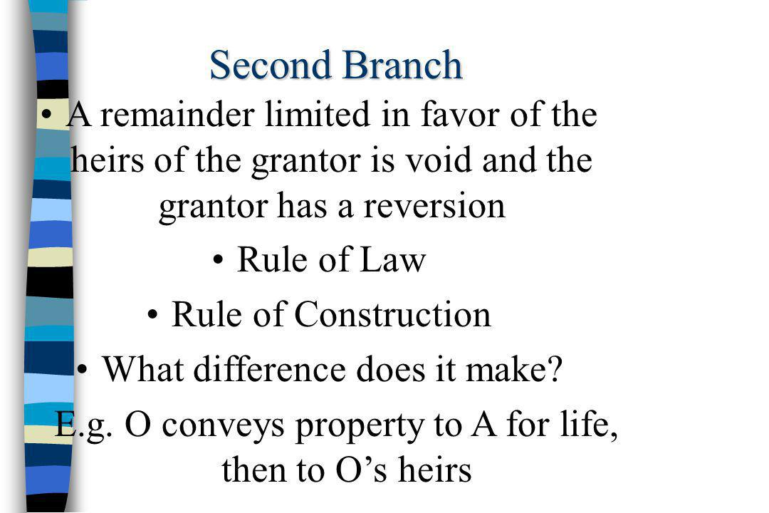 Second Branch A remainder limited in favor of the heirs of the grantor is void and the grantor has a reversion Rule of Law Rule of Construction What difference does it make.