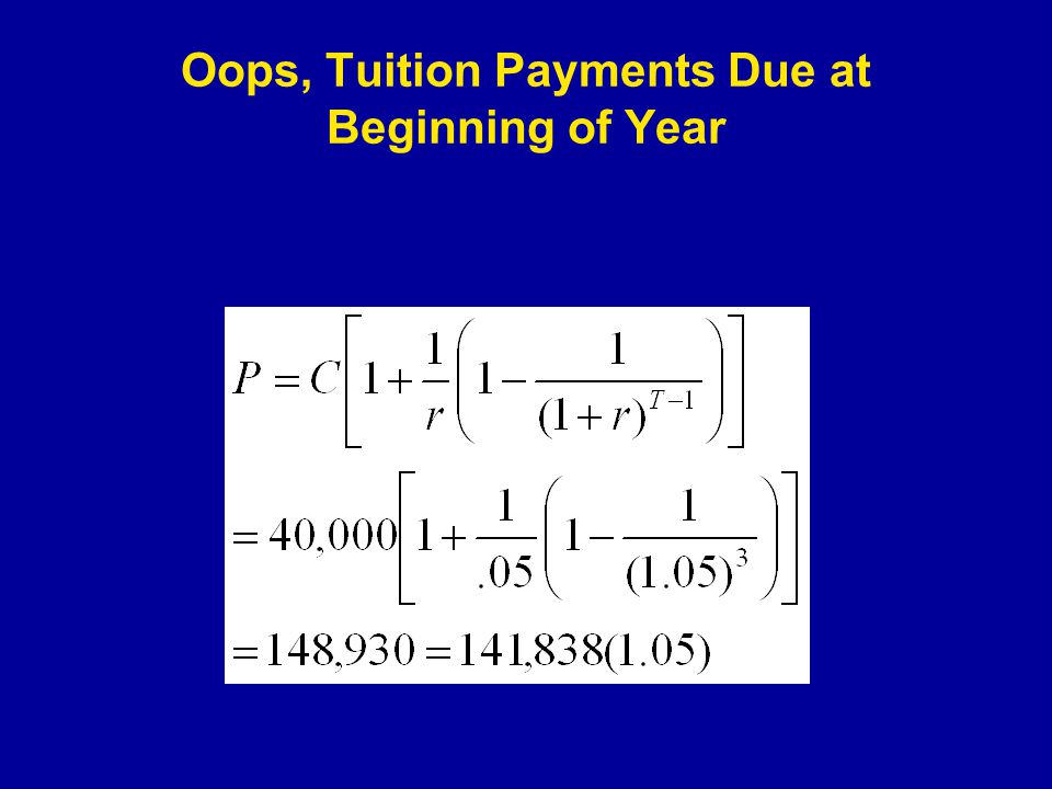 Oops, Tuition Payments Due at Beginning of Year