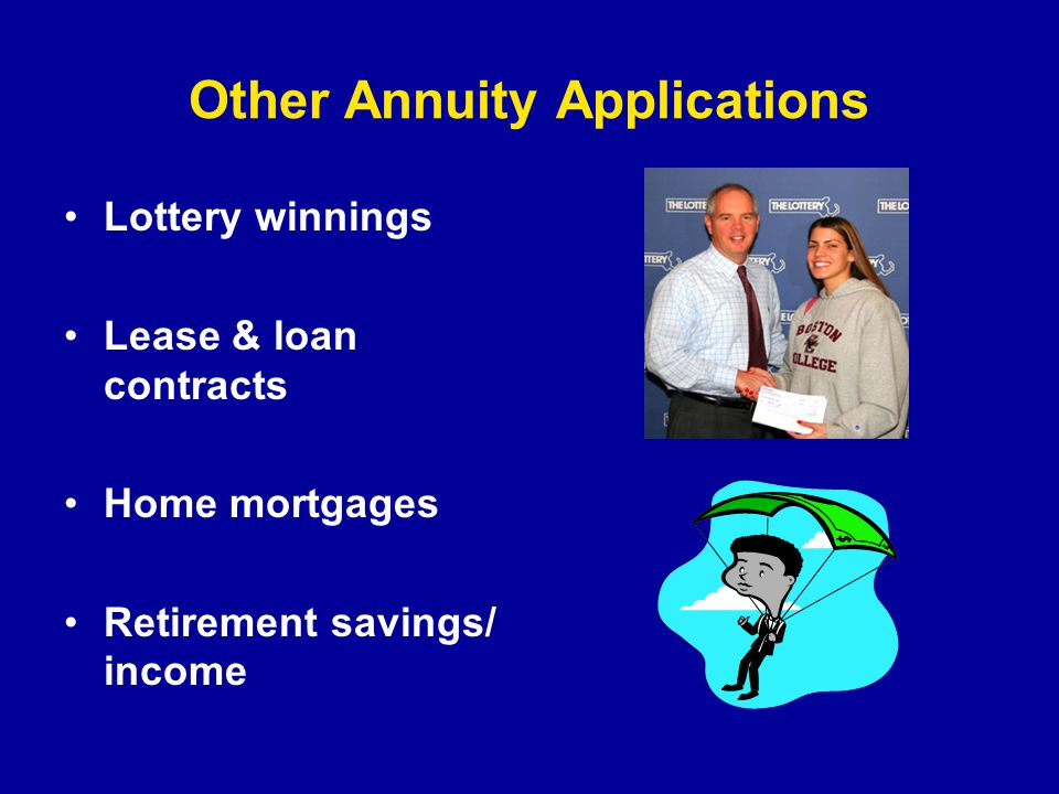 Other Annuity Applications Lottery winnings Lease & loan contracts Home mortgages Retirement savings/ income