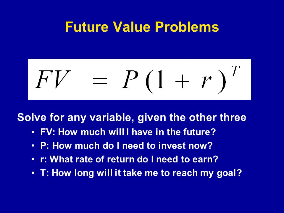 Present Value Discounting future cash flows at the opportunity cost (cost of capital, discount rate, minimum acceptable return) A dollar tomorrow is worth less than a dollar today