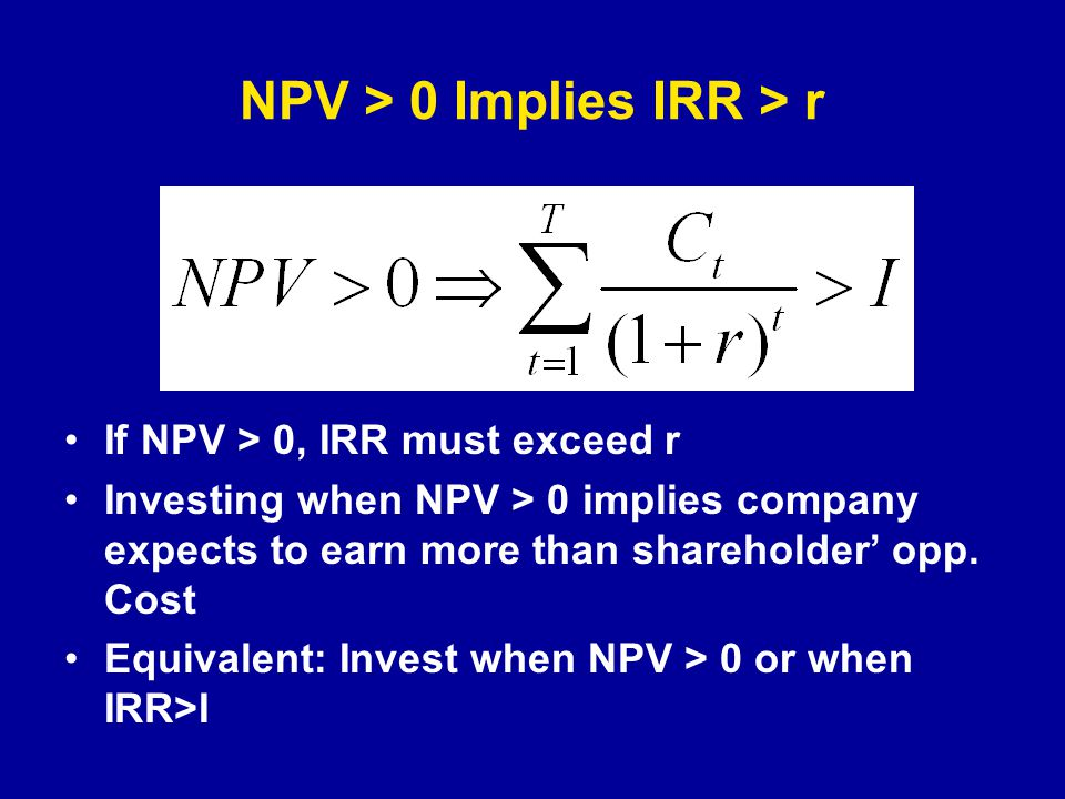 NPV > 0 Implies IRR > r If NPV > 0, IRR must exceed r Investing when NPV > 0 implies company expects to earn more than shareholder' opp.
