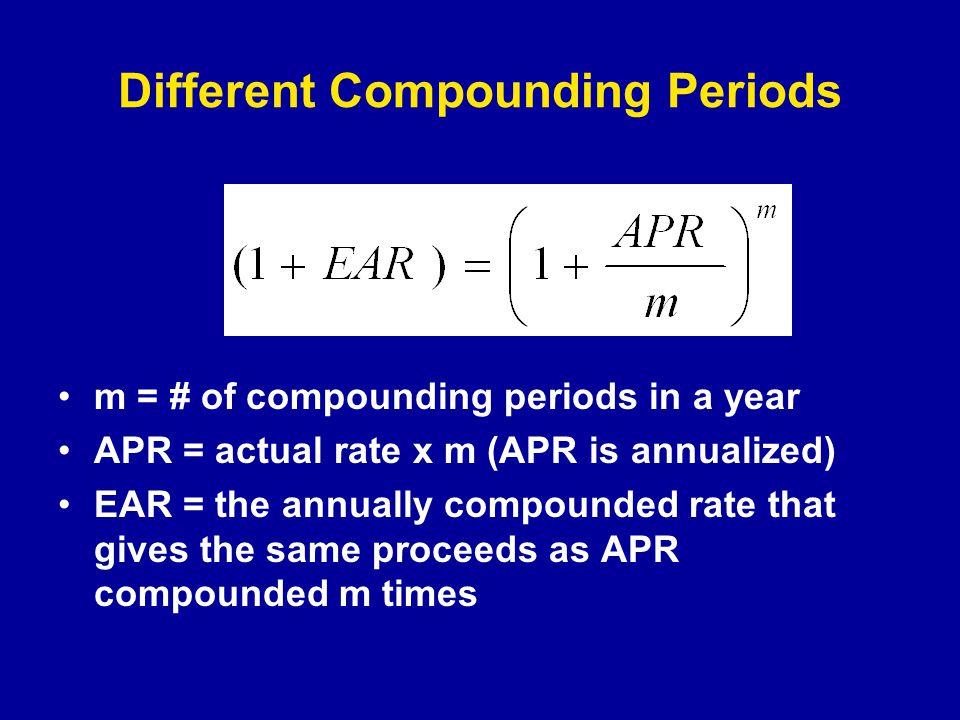 Semiannual Compounding m = 2 APR = 10% EAR = 10.25%