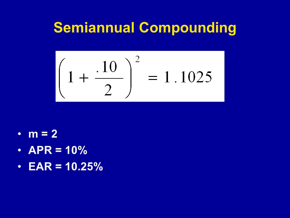 Semiannual Compounding m = 2 APR = 10% EAR = 10.25%