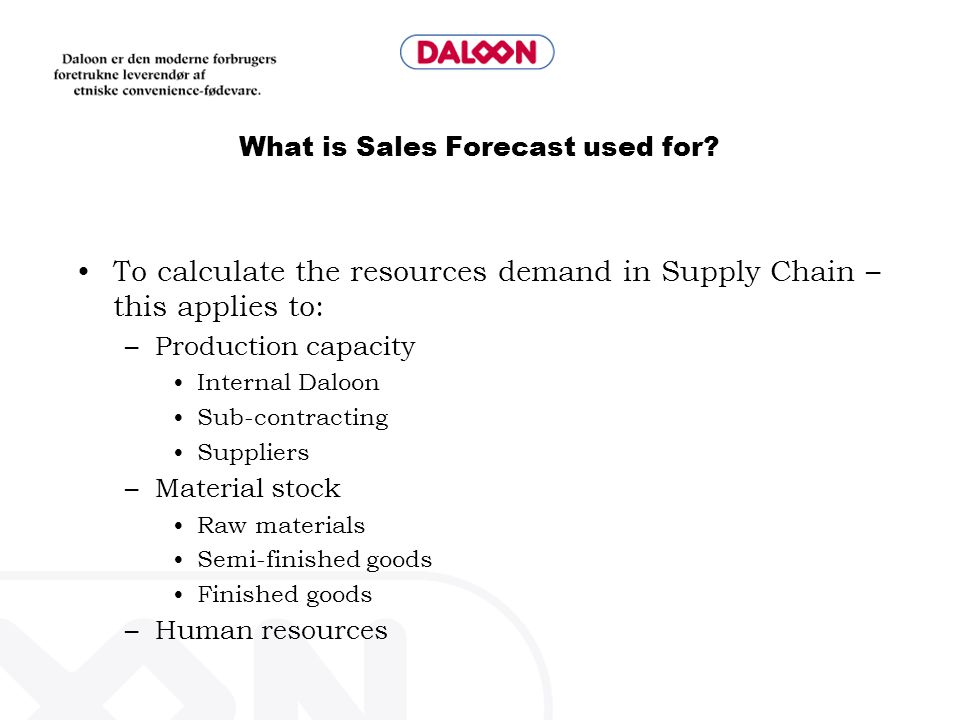 What is Sales Forecast used for.
