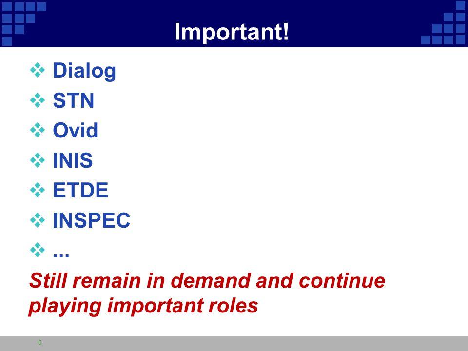 Important.  Dialog  STN  Ovid  INIS  ETDE  INSPEC ...