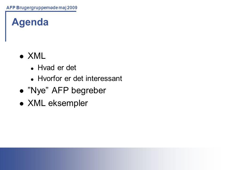Printing Solutions For the IBM Environment AFP Brugergruppemøde maj 2009 Agenda XML Hvad er det Hvorfor er det interessant Nye AFP begreber XML eksempler