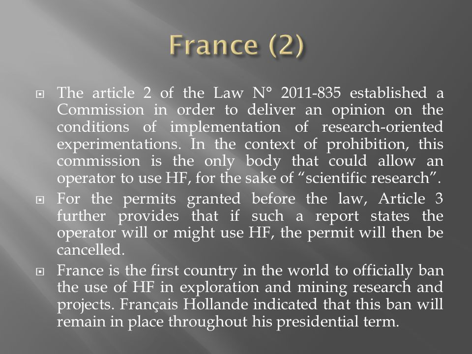 The article 2 of the Law N° 2011-835 established a Commission in order to deliver an opinion on the conditions of implementation of research-oriented experimentations.