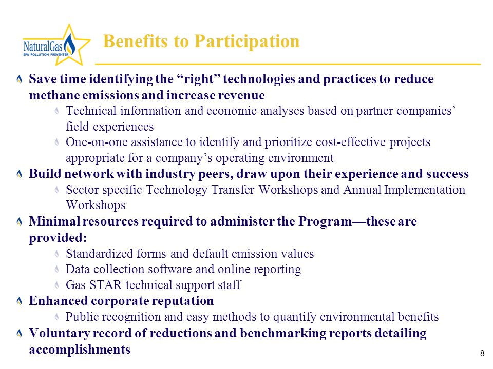 8 Benefits to Participation Save time identifying the right technologies and practices to reduce methane emissions and increase revenue Technical information and economic analyses based on partner companies' field experiences One-on-one assistance to identify and prioritize cost-effective projects appropriate for a company's operating environment Build network with industry peers, draw upon their experience and success Sector specific Technology Transfer Workshops and Annual Implementation Workshops Minimal resources required to administer the Program—these are provided: Standardized forms and default emission values Data collection software and online reporting Gas STAR technical support staff Enhanced corporate reputation Public recognition and easy methods to quantify environmental benefits Voluntary record of reductions and benchmarking reports detailing accomplishments