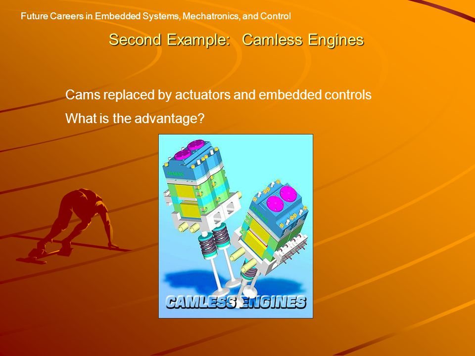 Second Example: Camless Engines Cams replaced by actuators and embedded controls What is the advantage