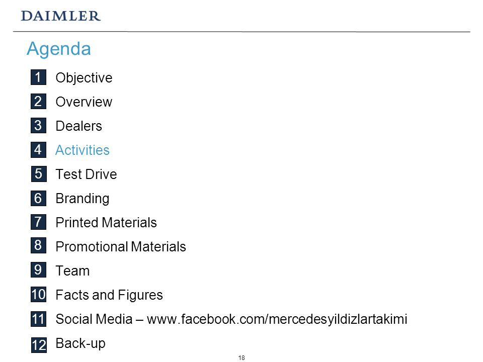 18 Objective Overview Dealers Activities Test Drive Branding Printed Materials Promotional Materials Team Facts and Figures Social Media – www.facebook.com/mercedesyildizlartakimi Back-up Agenda 1 2 3 4 5 6 7 8 9 10 11 12
