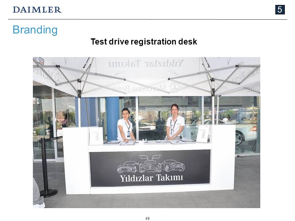 49 5 Branding Test drive registration desk