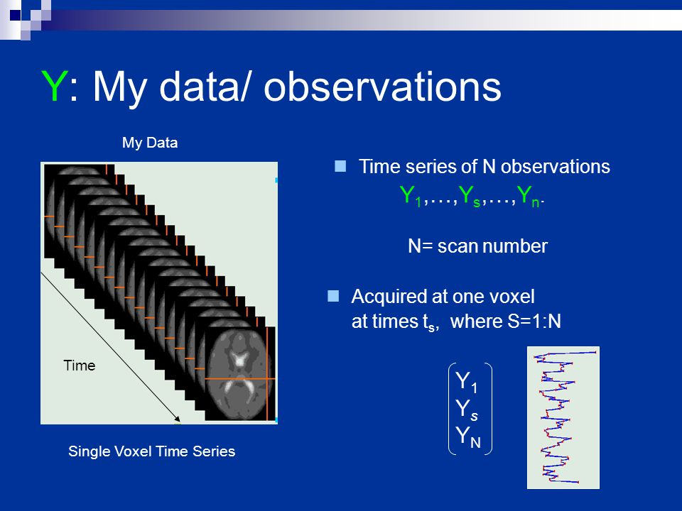 Y: My data/ observations Single Voxel Time Series My Data Time Y1YsYNY1YsYN Time series of N observations Y 1,…,Y s,…,Y n.