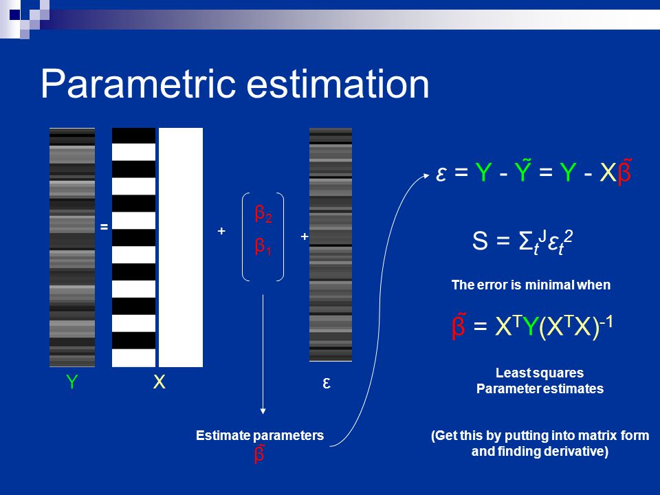 Parametric estimation = β1 β1 β2β2 + + Y X ε Estimate parameters β The error is minimal when Least squares Parameter estimates β = X T Y(X T X) -1 ε = Y - Y = Y - Xβ S = Σ t J ε t 2 (Get this by putting into matrix form and finding derivative)