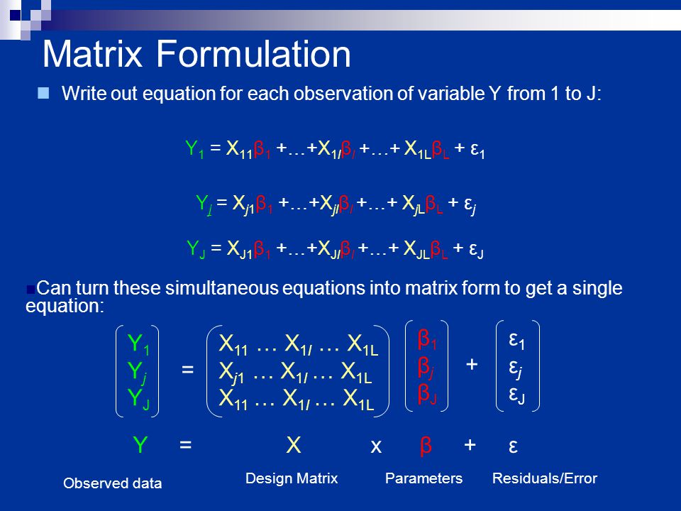 Matrix Formulation Write out equation for each observation of variable Y from 1 to J: Y 1 = X 11 β 1 +…+X 1l β l +…+ X 1L β L + ε 1 Y j = X j1 β 1 +…+X jl β l +…+ X jL β L + ε j Y J = X J1 β 1 +…+X Jl β l +…+ X JL β L + ε J Y1YjYJY1YjYJ = X 11 … X 1l … X 1L X j1 … X 1l … X 1L X 11 … X 1l … X 1L Can turn these simultaneous equations into matrix form to get a single equation: β1βjβJβ1βjβJ + ε1εjεJε1εjεJ Y = X x β + ε Observed data Design MatrixParametersResiduals/Error