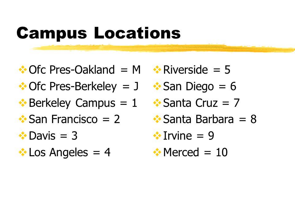 Campus Locations  Ofc Pres-Oakland = M  Ofc Pres-Berkeley = J  Berkeley Campus = 1  San Francisco = 2  Davis = 3  Los Angeles = 4  Riverside = 5  San Diego = 6  Santa Cruz = 7  Santa Barbara = 8  Irvine = 9  Merced = 10
