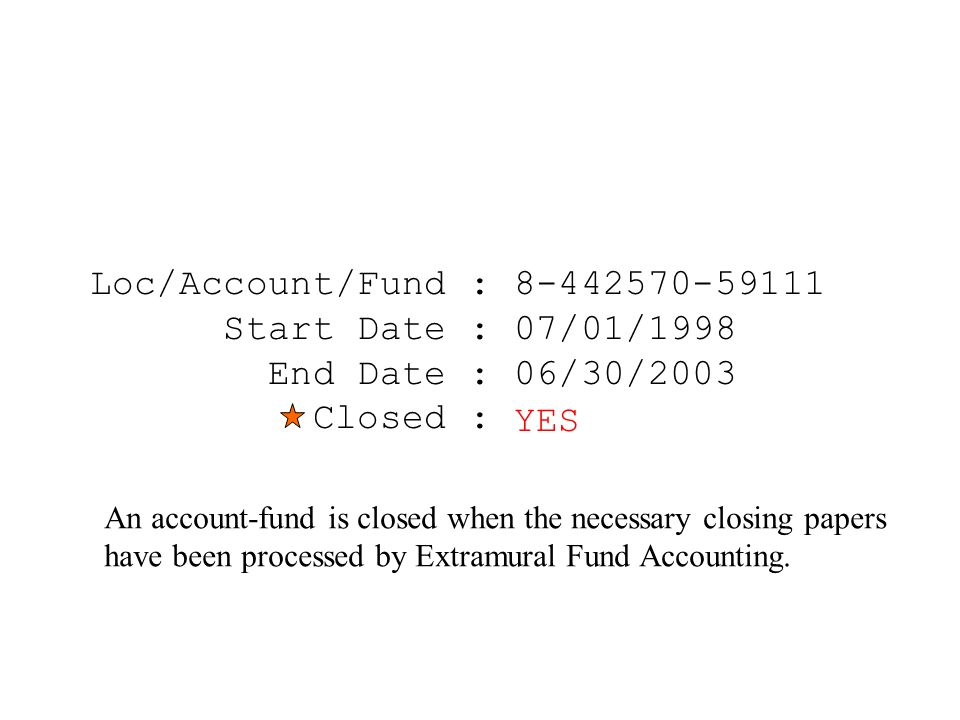 Loc/Account/Fund : 8-442570-59111 Start Date : 07/01/1998 End Date : 06/30/2003 Closed : NO An account-fund is closed when the necessary closing papers have been processed by Extramural Fund Accounting.