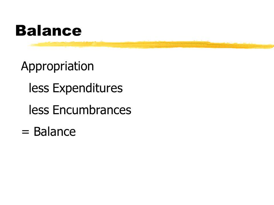 Balance Appropriation less Expenditures less Encumbrances = Balance