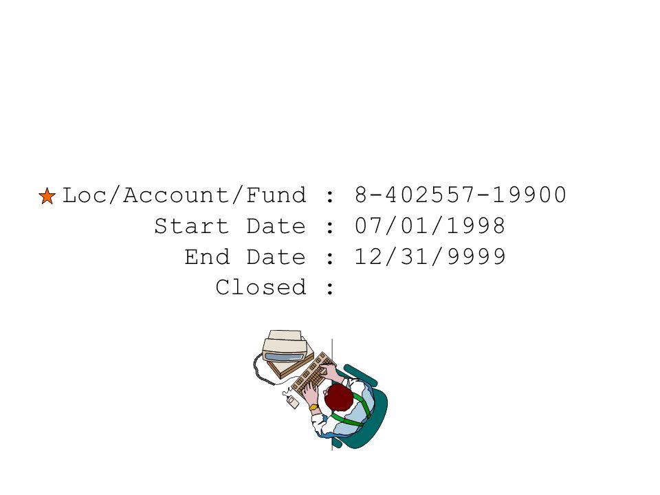 Loc/Account/Fund : 8-402557-19900 Start Date : 07/01/1998 End Date : 12/31/9999 Closed :
