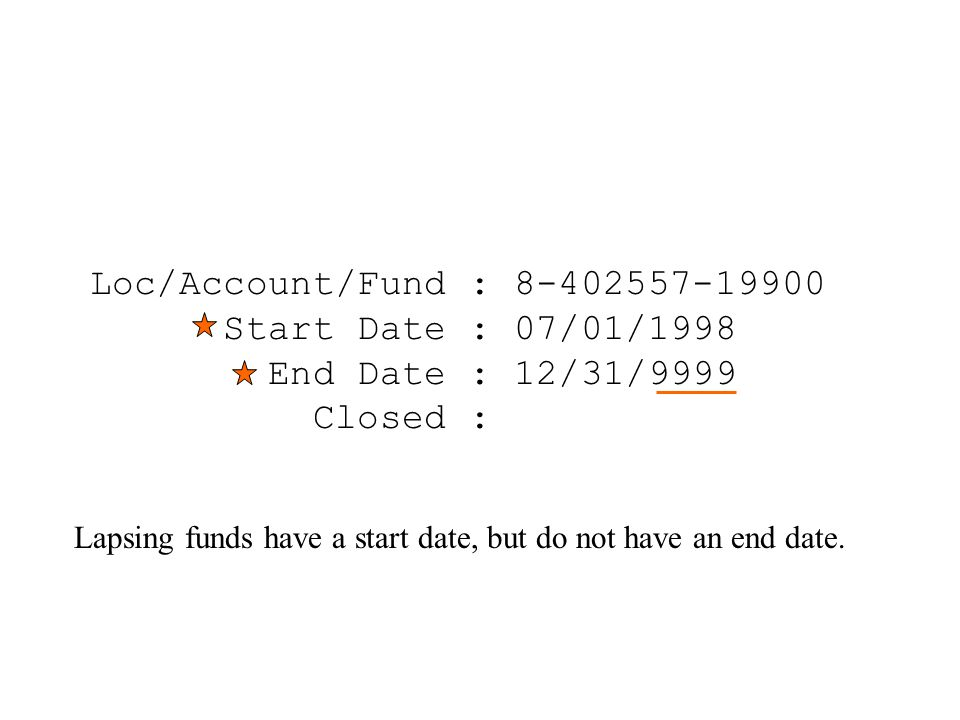 Loc/Account/Fund : 8-402557-19900 Start Date : 07/01/1998 End Date : 12/31/9999 Closed : Lapsing funds have a start date, but do not have an end date.