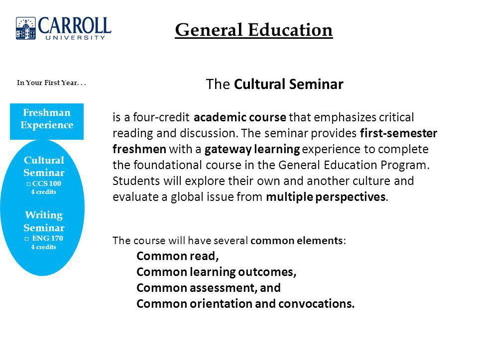 General Education Cultural Seminar □ CCS 100 4 credits Writing Seminar □ ENG 170 4 credits In Your First Year...
