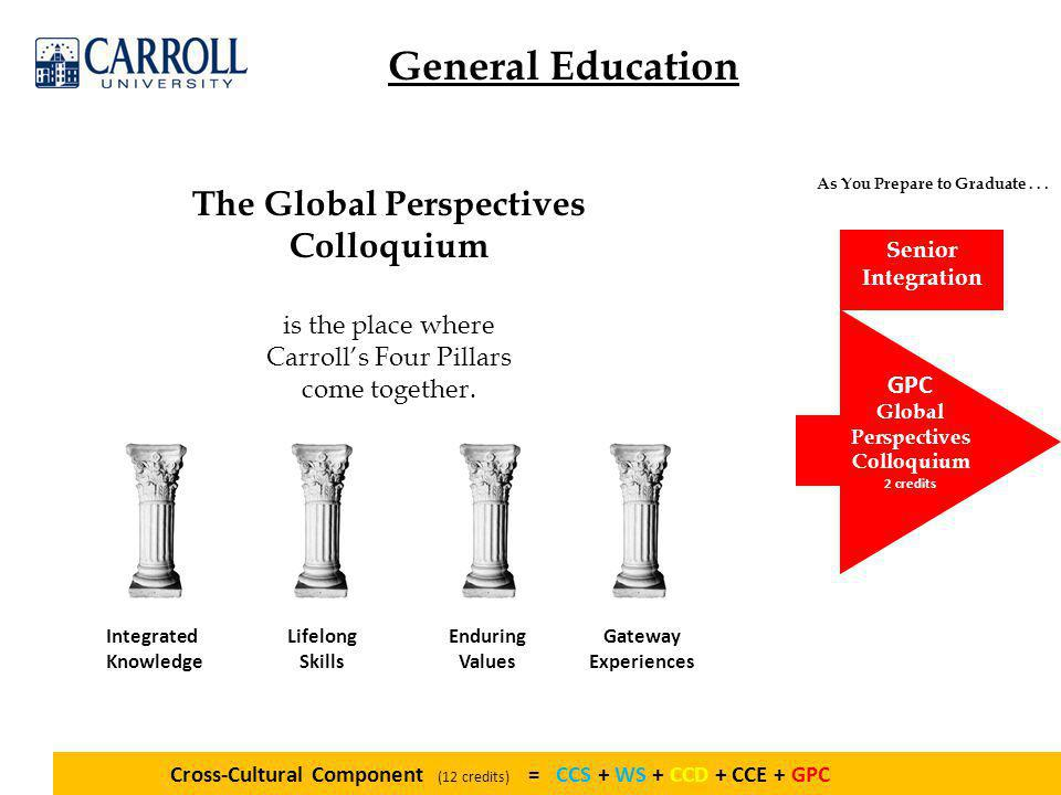 General Education GPC Global Perspectives Colloquium 2 credits As You Prepare to Graduate...