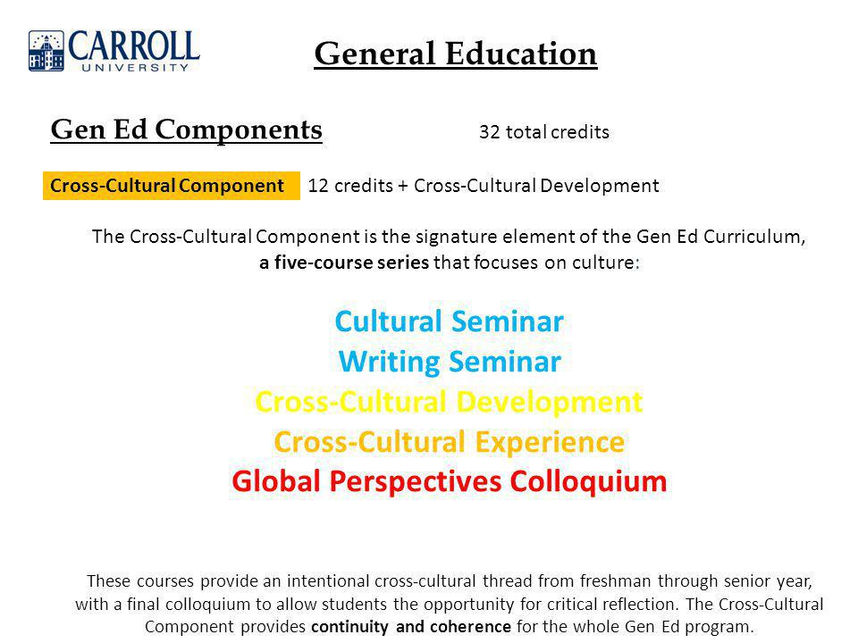 Gen Ed Components 32 total credits Cross-Cultural Component 12 credits + Cross-Cultural Development The Cross-Cultural Component is the signature element of the Gen Ed Curriculum, a five-course series that focuses on culture: Cultural Seminar Writing Seminar Cross-Cultural Development Cross-Cultural Experience Global Perspectives Colloquium These courses provide an intentional cross-cultural thread from freshman through senior year, with a final colloquium to allow students the opportunity for critical reflection.