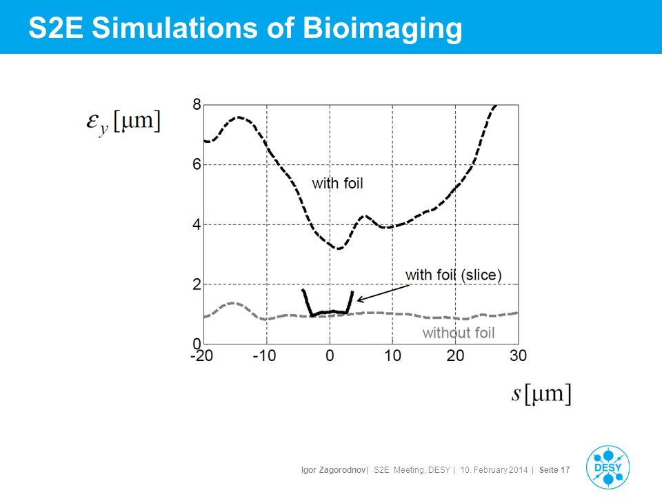 Igor Zagorodnov| S2E Meeting, DESY | 10. February 2014 | Seite 18 S2E Simulations of Bioimaging