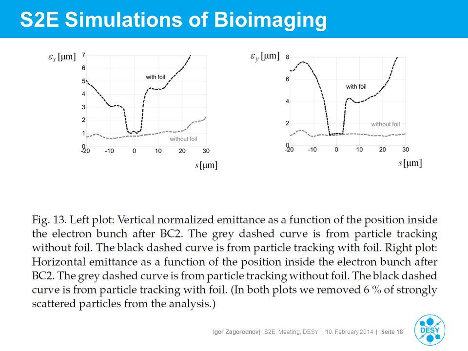 Igor Zagorodnov| S2E Meeting, DESY | 10. February 2014 | Seite 19 S2E Simulations of Bioimaging