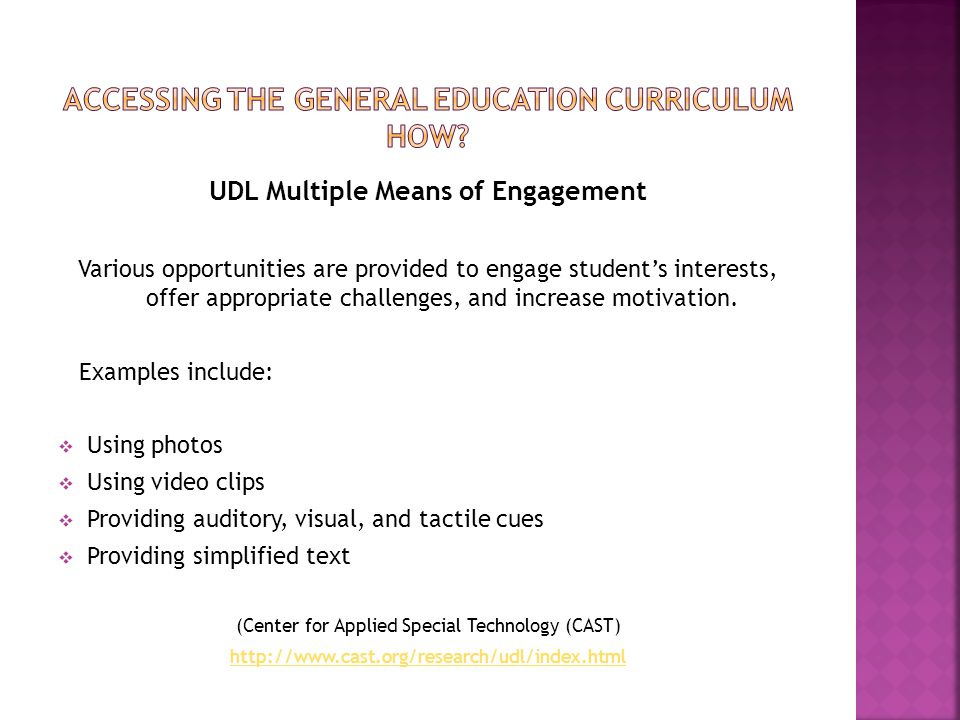 UDL Multiple Means of Engagement Various opportunities are provided to engage student's interests, offer appropriate challenges, and increase motivati