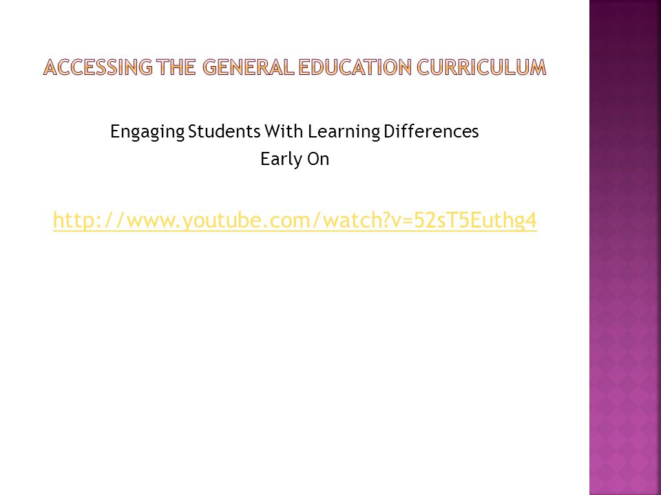 Engaging Students With Learning Differences Early On http://www.youtube.com/watch?v=52sT5Euthg4