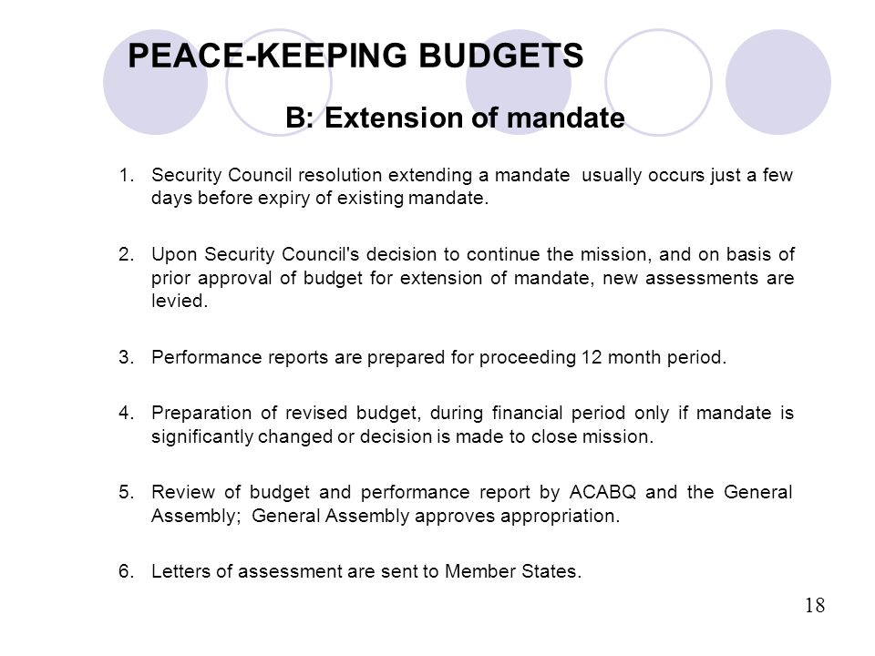 B: Extension of mandate 1.Security Council resolution extending a mandate usually occurs just a few days before expiry of existing mandate. 2.Upon Sec