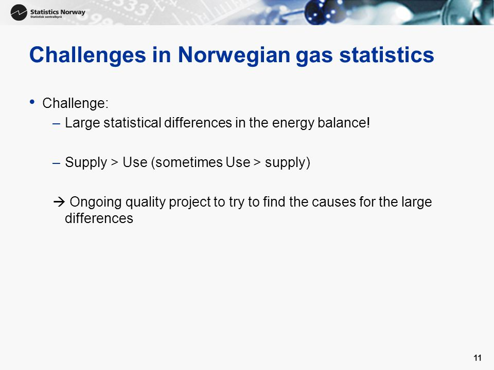 11 Challenges in Norwegian gas statistics Challenge: –Large statistical differences in the energy balance.