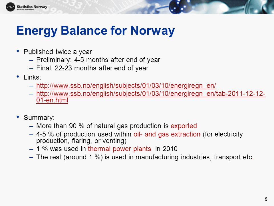 5 Energy Balance for Norway Published twice a year –Preliminary: 4-5 months after end of year –Final: months after end of year Links: –  –  01-en.htmlhttp://  01-en.html Summary: –More than 90 % of natural gas production is exported –4-5 % of production used within oil- and gas extraction (for electricity production, flaring, or venting) –1 % was used in thermal power plants in 2010 –The rest (around 1 %) is used in manufacturing industries, transport etc.