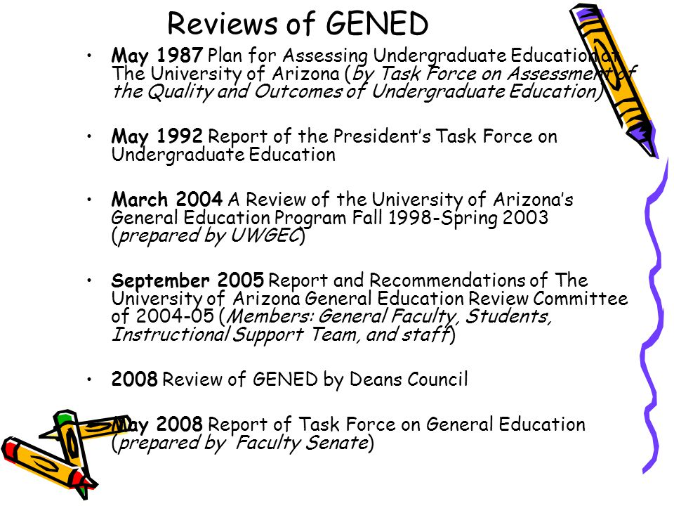Reviews of GENED May 1987 Plan for Assessing Undergraduate Education at The University of Arizona (by Task Force on Assessment of the Quality and Outcomes of Undergraduate Education) May 1992 Report of the President's Task Force on Undergraduate Education March 2004 A Review of the University of Arizona's General Education Program Fall 1998-Spring 2003 (prepared by UWGEC) September 2005 Report and Recommendations of The University of Arizona General Education Review Committee of 2004-05 (Members: General Faculty, Students, Instructional Support Team, and staff) 2008 Review of GENED by Deans Council May 2008 Report of Task Force on General Education (prepared by Faculty Senate)