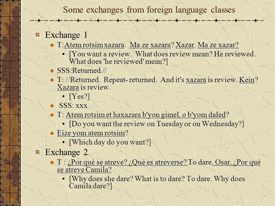 Some exchanges from foreign language classes Exchange 1 T:Atem rotsim xazara. Ma ze xazara? Xazar. Ma ze xazar? [You want a review. What does review m