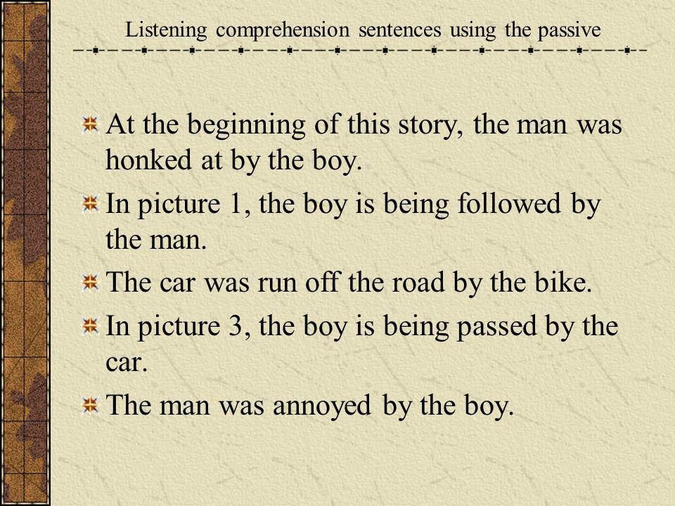 At the beginning of this story, the man was honked at by the boy. In picture 1, the boy is being followed by the man. The car was run off the road by