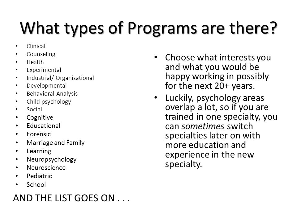 What types of Programs are there.
