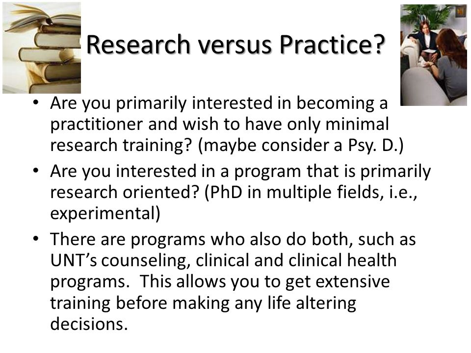 Research versus Practice.