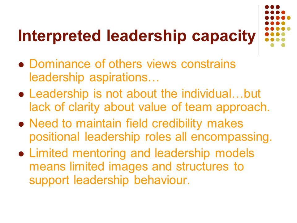 Interpreted leadership capacity Dominance of others views constrains leadership aspirations… Leadership is not about the individual…but lack of clarit