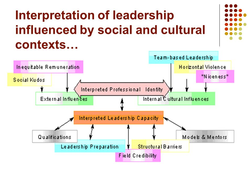 Political, Social and Cultural contexts… Interpreted social and political contexts… - Inequitable remuneration - Social kudos Interpreted cultural contexts… - Notions of team based leadership - Cultural on niceness - Horizontal violence