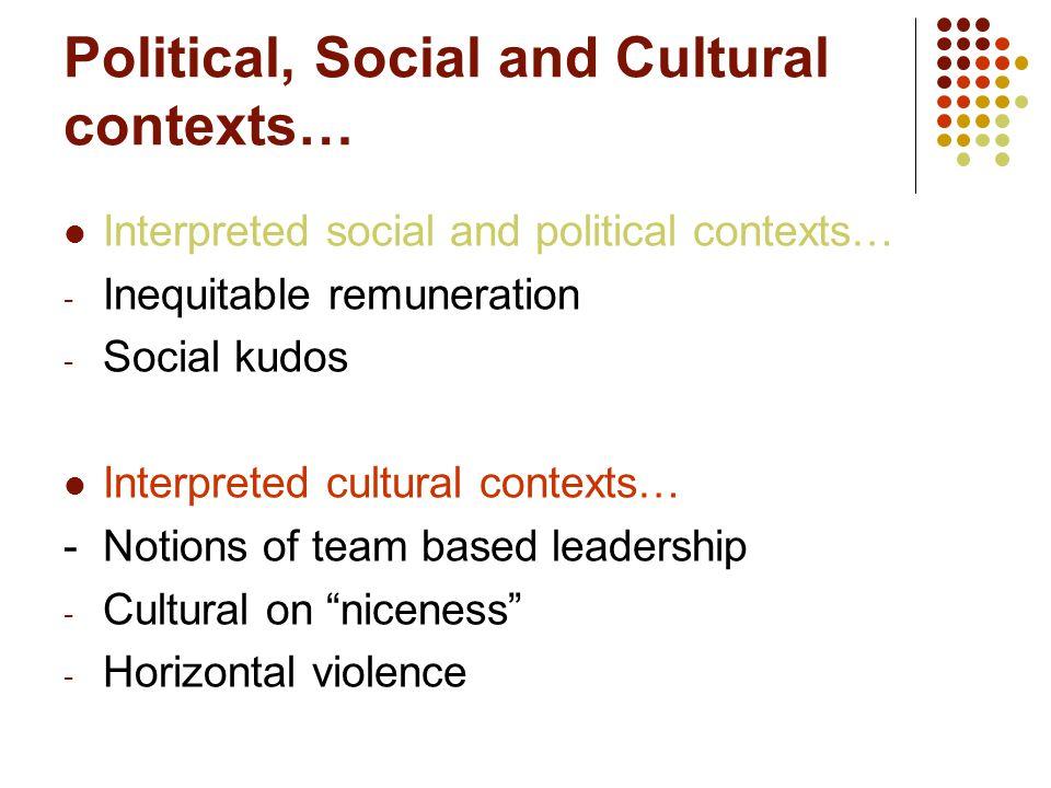 Political, Social and Cultural contexts… Interpreted social and political contexts… - Inequitable remuneration - Social kudos Interpreted cultural con