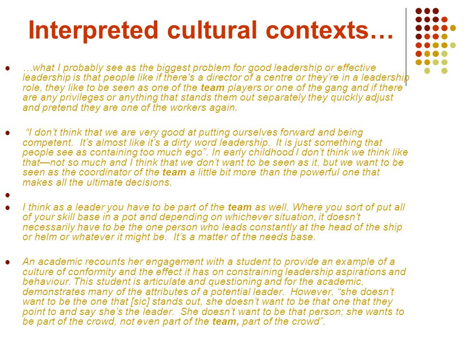 Cultural contexts… … ladies looking after children who don't blow their own trumpet.