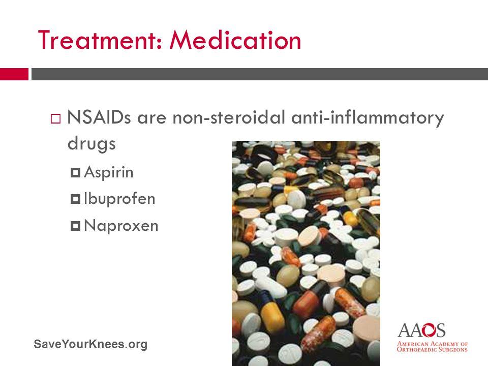 SaveYourKnees.org Treatment: Medication  NSAIDs are non-steroidal anti-inflammatory drugs  Aspirin  Ibuprofen  Naproxen