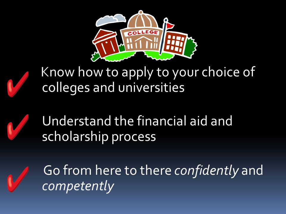 Know how to apply to your choice of colleges and universities Understand the financial aid and scholarship process Go from here to there confidently and competently