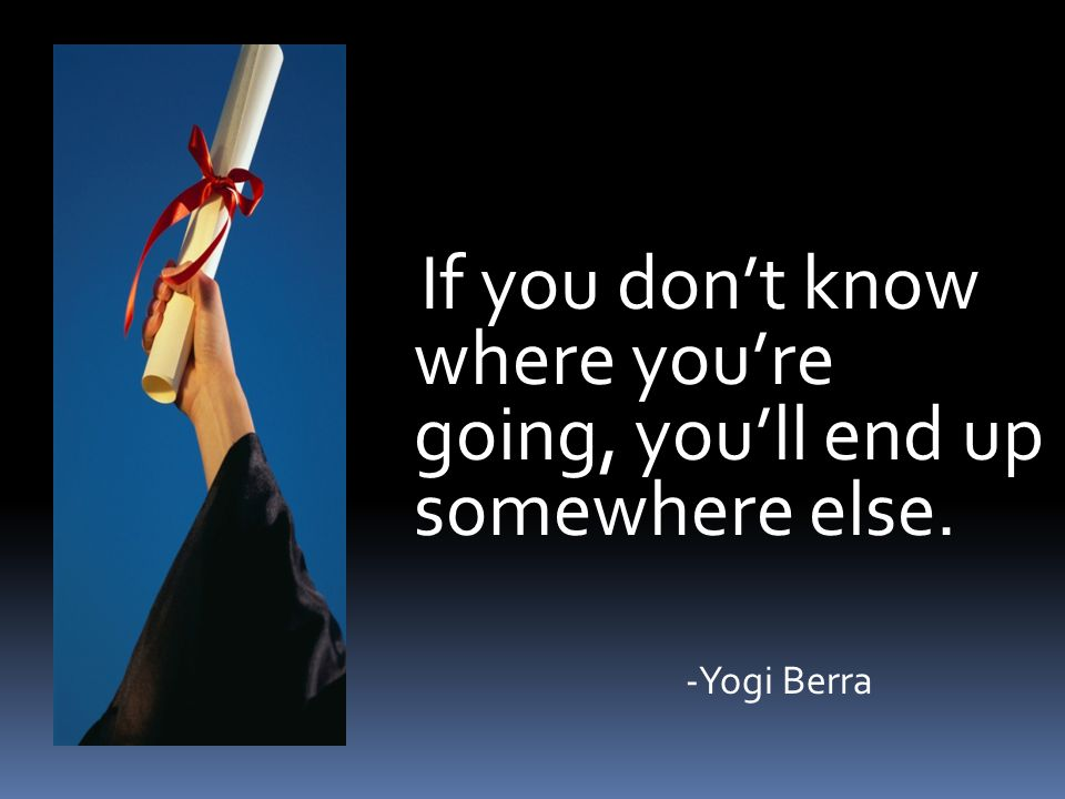 If you don't know where you're going, you'll end up somewhere else. -Yogi Berra