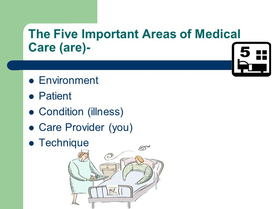 The Five Important Areas of Medical Care (are)- Environment Patient Condition (illness) Care Provider (you) Technique