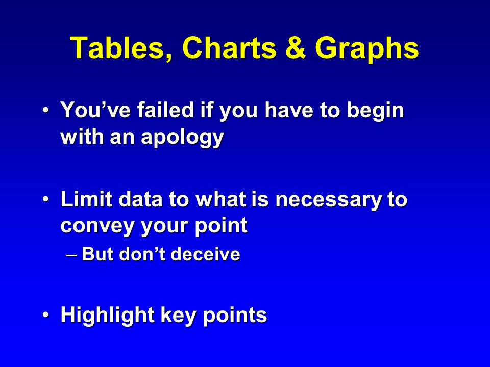 Tables, Charts & Graphs You've failed if you have to begin with an apologyYou've failed if you have to begin with an apology Limit data to what is necessary to convey your pointLimit data to what is necessary to convey your point –But don't deceive Highlight key pointsHighlight key points