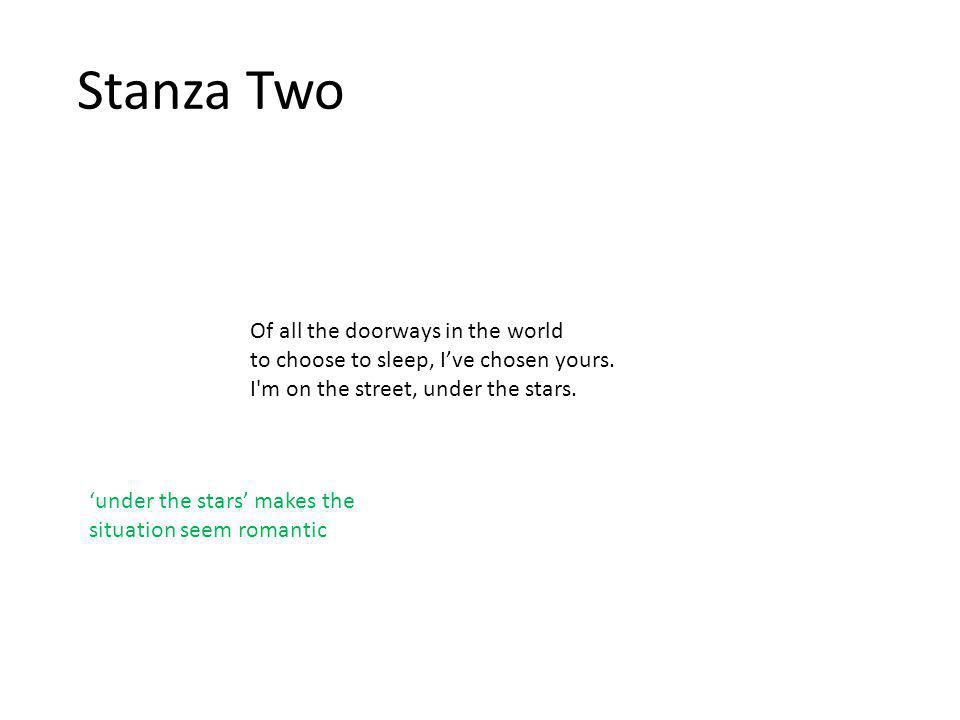 Stanza Two Of all the doorways in the world to choose to sleep, I've chosen yours.