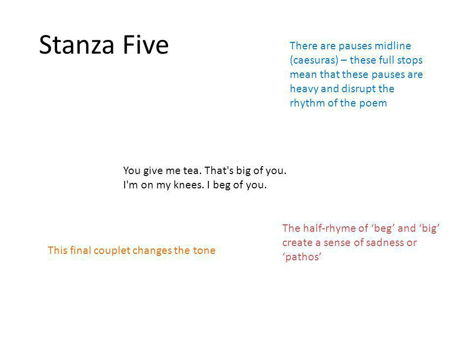 Stanza Five You give me tea. That s big of you. I m on my knees.