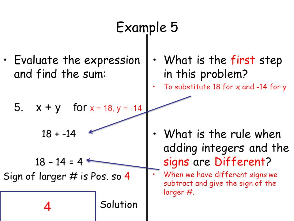 Example 5 Evaluate the expression and find the sum: 5.